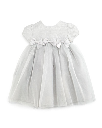 Cap-Sleeve Jacquard & Tulle Dress, Gray, Size 12-24 Months