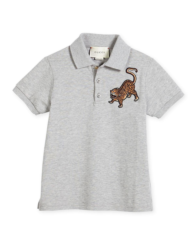 52ef2e69361e Gucci Pique Tiger Polo Shirt, Gray, Size 6-12 | Neiman Marcus