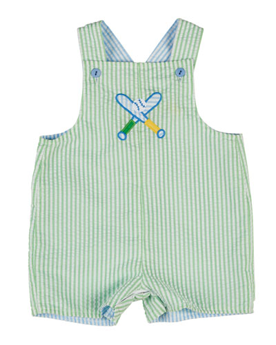 Striped Seersucker Shortall, Blue/Green, Size 3-18 Months
