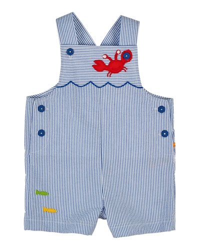 Striped Seersucker Shortall w/ Applique, Royal, Size 6-24 Months