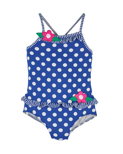 Polka-Dot One-Piece Swimsuit, Royal/White, Size 2-4