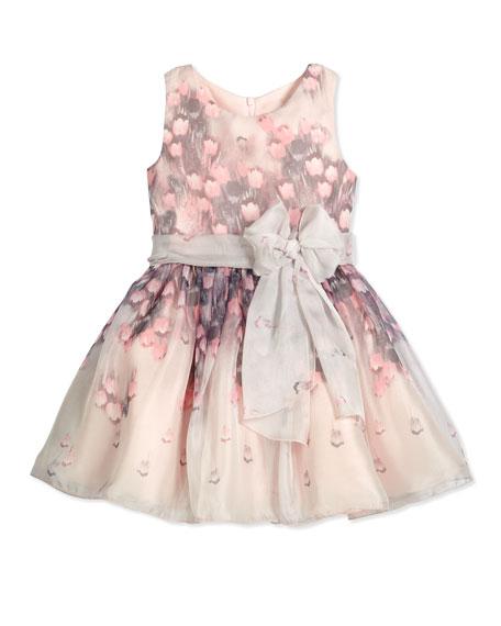 Zoe Floating Tulips Chiffon A-Line Dress, Lavender/Pink, Size 7-12