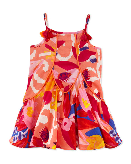 Sleeveless Pleated Floral Shift Dress, Red, Size 4-8