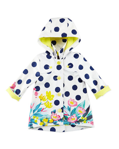 Polka-Dot Button-Front Raincoat, White, Size 6M-3T