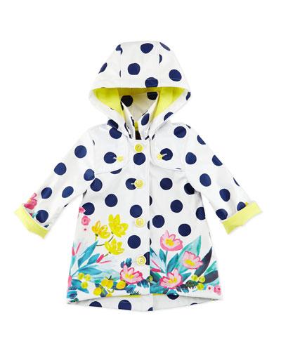 Polka-Dot Button-Front Raincoat, White, Size 6M-3T