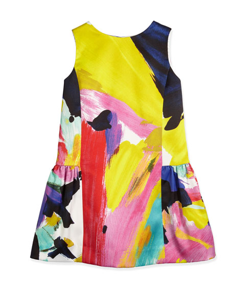 Milly Minis Ponte Brushstroke Fit-and-Flare Dress, Multicolor,