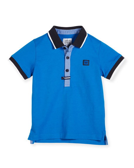 Tipped Cotton Pique Polo Shirt, Cyan, Size 2-8