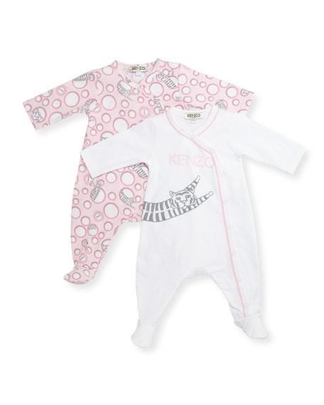 Kenzo Long-Sleeve Footie Pajama Set, Pink, Size Newborn-9
