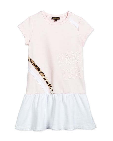Roberto Cavalli Cap-Sleeve Dropped-Waist Jersey Dress, Light Pink, Size 7-10