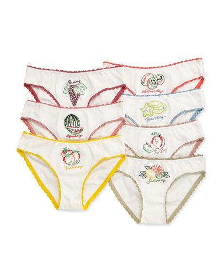 Stella McCartney Peonie 7-Day Fruit Underwear Set, White,