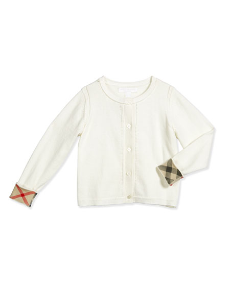 Burberry Rheta Cotton Button-Front Cardigan, White, Size 4-14