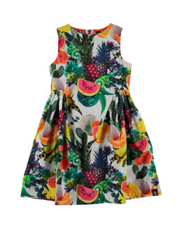 Sleeveless Cotton Fruit-Print Dress, Multicolor, Size 3-12