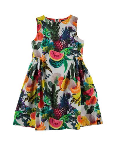 Sleeveless Cotton Fruit-Print Dress, Multicolor, Size 3-12