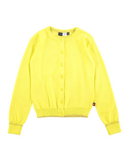 Knit Button-Front Cardigan, Yellow, Size 3-12