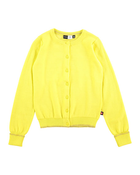 molo Knit Button-Front Cardigan, Yellow, Size 3-12
