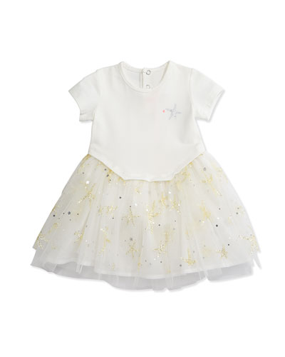 Jersey & Tulle A-Line Combo Dress, White, Size 12M-3