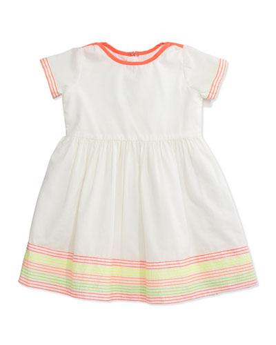 Embroidered Cotton Poplin Dress, White, Size 12M-3