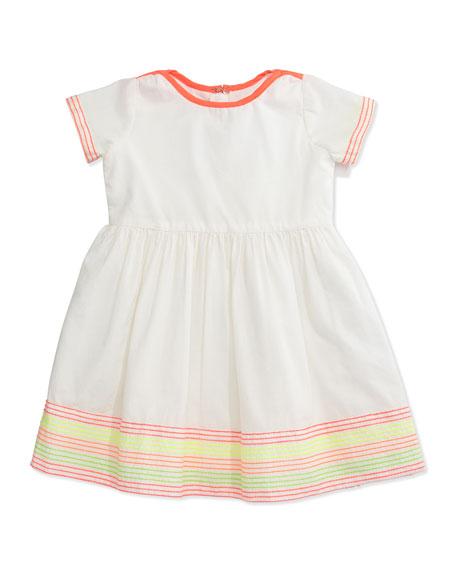Billieblush Embroidered Cotton Poplin Dress, White, Size 12M-3