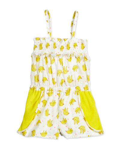 Sleeveless Cotton Banana-Print Romper, White/Yellow, Size 4-8