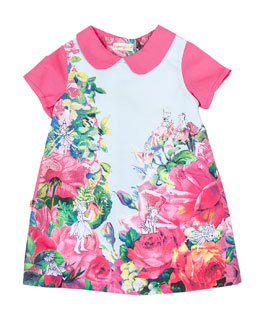 Collared Floral Shift Dress, Pink, Size 12M-6