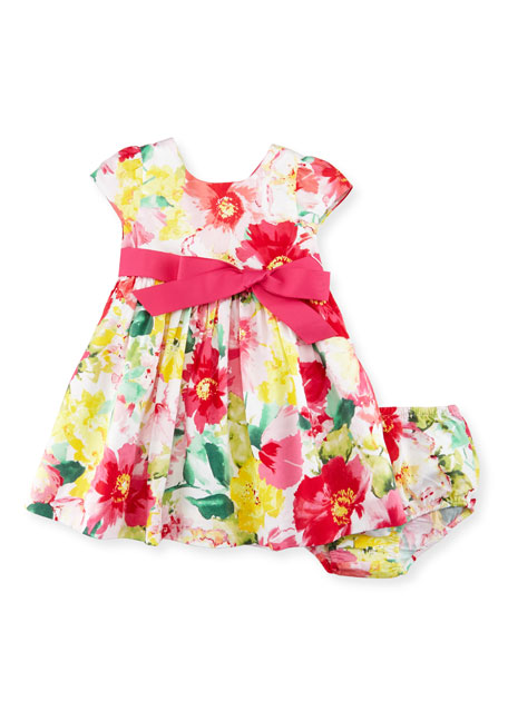 Ralph Lauren Childrenswear Cap-Sleeve Floral Poplin Dress w/ Bloomers, ...