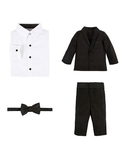 Wool-Blend Four-Piece Tuxedo Set, Black, Size 2-6