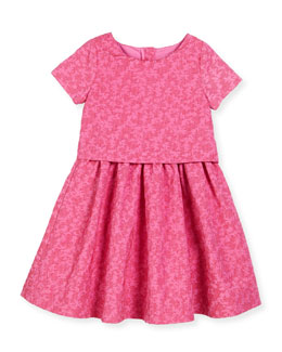 short-sleeve jacquard popover dress, pink/red, size 7-14