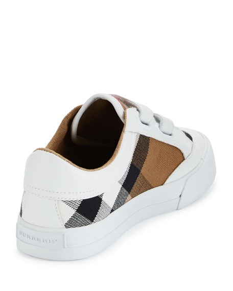 Heacham Check Canvas Sneaker, White/Tan, Toddler/Youth Sizes 10T-4Y