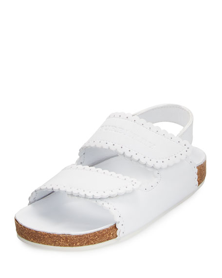 Burberry Gallas Scalloped Leather Sandal, White, Youth