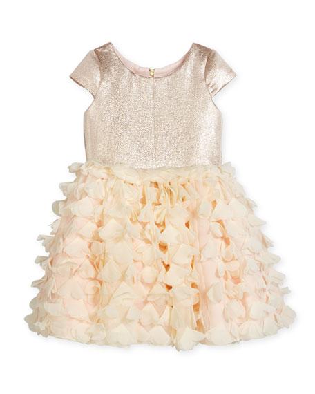 Zoe Cap-Sleeve Metallic & Chiffon Party Dress, Blush,