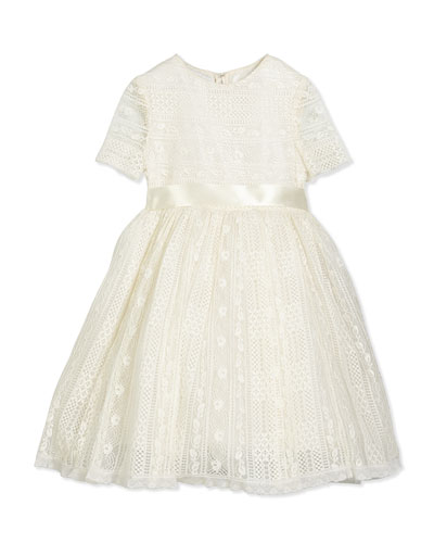 Dawn Short-Sleeve Lace Dress, Ivory, Size 2-14