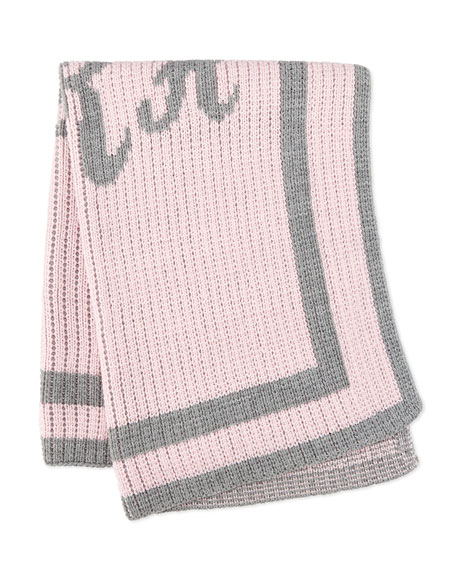 Monogram Knit Striped-Trim Baby Blanket, Pink