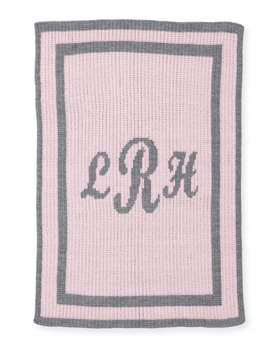 Monogram Knit Striped-Trim Baby Blanket  Pink