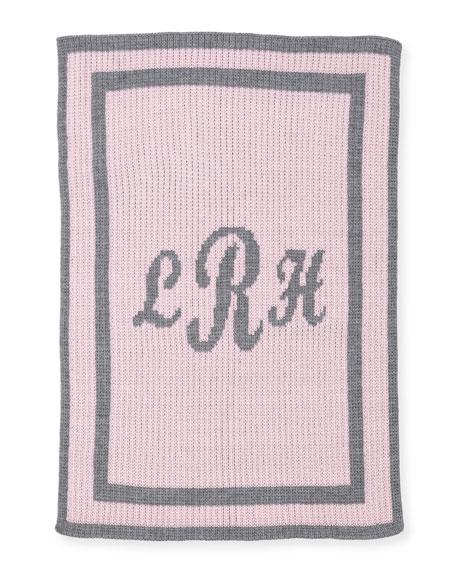 Monogram Knit Striped-Trim Baby Blanket, Pink