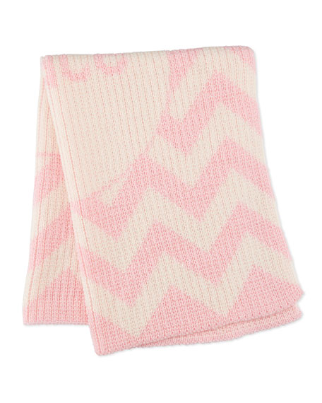 Butterscotch Blankees Personalized Ribbed Chevron-Knit Baby Blanket, Light Pink