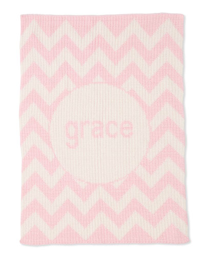 Personalized Ribbed Chevron-Knit Baby Blanket  Light Pink