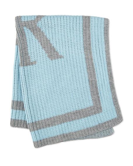 Monogrammed Knit Striped-Trim Baby Blanket, Light Blue