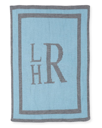 Monogrammed Knit Striped-Trim Baby Blanket, Light Blue