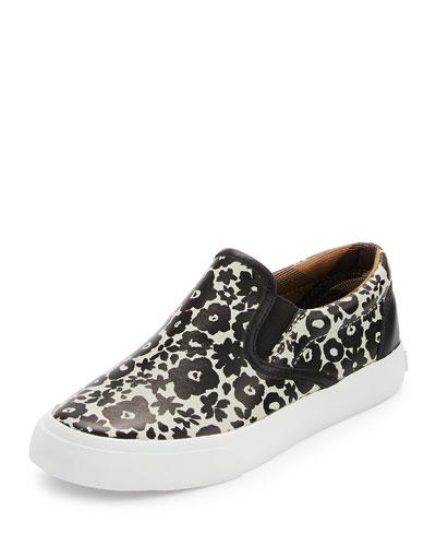 Linus Floral Leather Skate Shoe, Black/White, Toddler