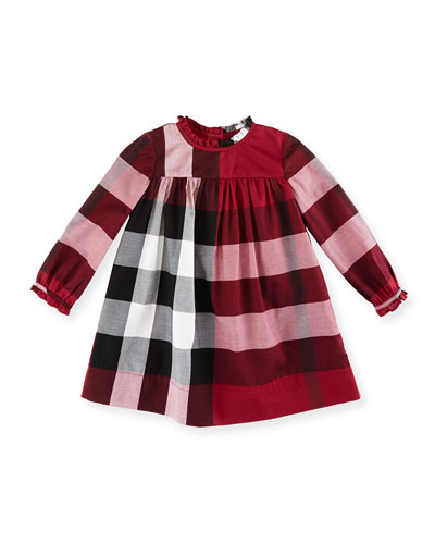 Pippie Long-Sleeve Yoked Shift Dress, Dark Plum Pink, Size 6M-3