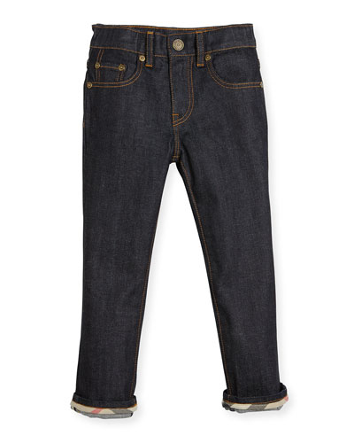 Faded Slim-Fit Stretch Jeans, Dark Indigo, Size 4-14