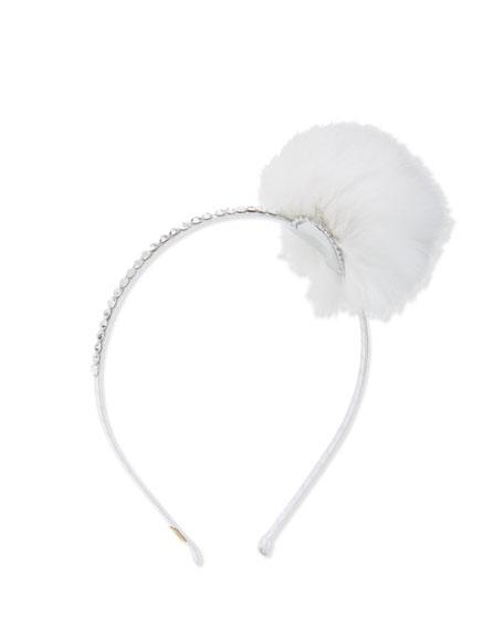 Fur-Trim Rhinestone Headband