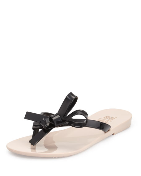 Melissa Shoes Harmonic II Bow Jelly Sandal, Black/Pink,