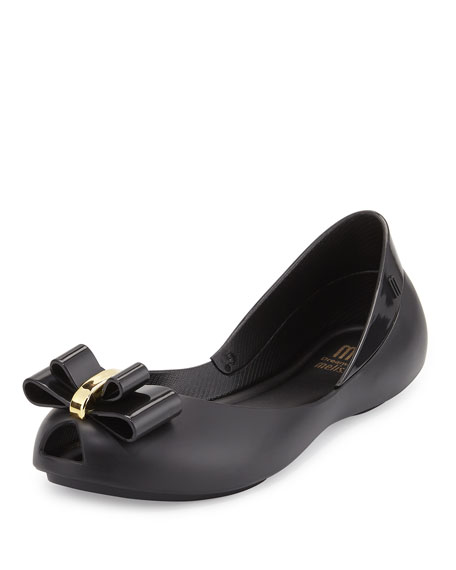 Melissa Shoes Queen Balk Peep-Toe Jelly Flat, Black,
