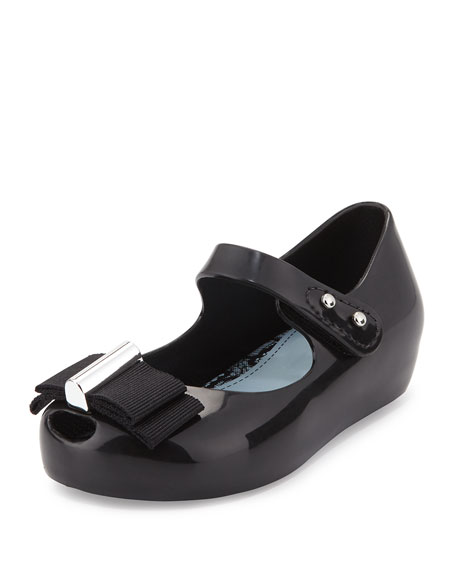 Mini Melissa Ultragirl Grosgrain-Bow Mary Jane Jelly Flat,