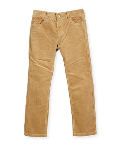 Basic 5-Pocket Corduroy Pants, Camel, Size 3-6