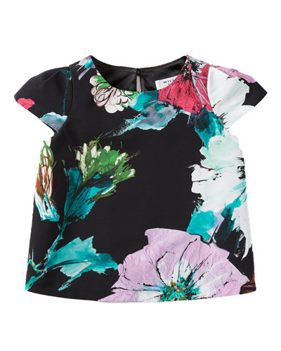 Paper Floral Chloe Top, Black, Size 8-14