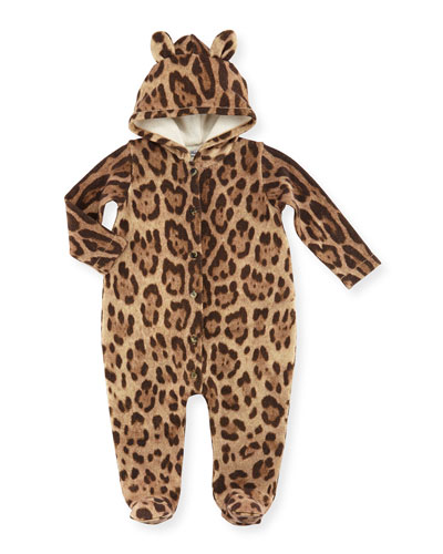 Hooded Leopard-Print Footie Pajamas, Brown, Size 3-24 Months