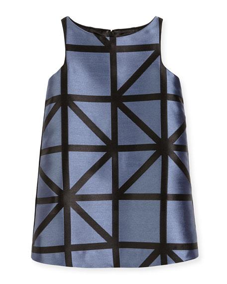 Milly Minis Sleeveless Angular Jacquard Mini Dress, Ice/Black,