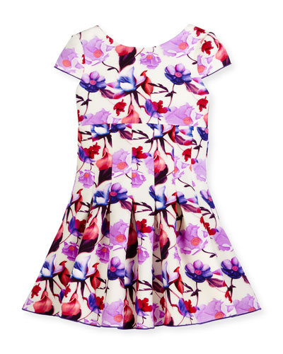 Cap-Sleeve Floral Burnout Scuba Dress, Purple/White, Size 7-16